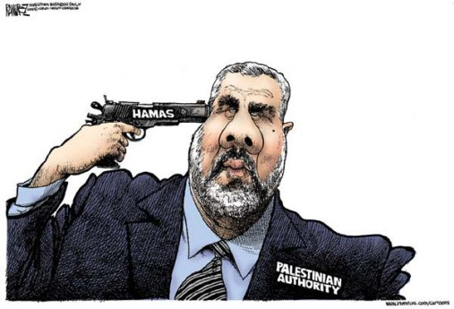 Comic: Palestinian Authority Shooting self in head with gun 	      labelled 'Hamas'