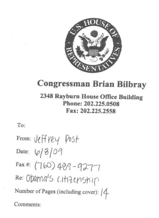 The CRS Memo Surfaced With A Fax Cover Sheet Sent By Staffer Jeffrey Post From Bilbrays Washington DC Office June 8 2009 Three Days After Mansfield